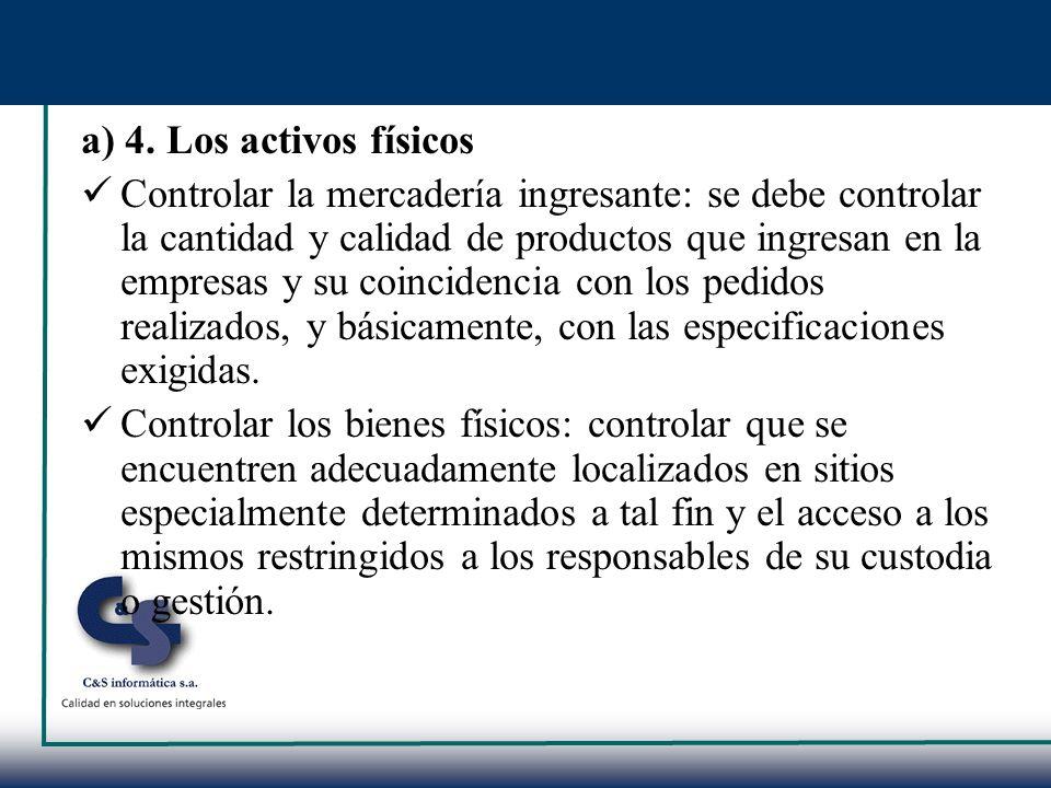 a) 4. Los activos físicos Controlar la mercadería ingresante: se debe controlar la cantidad y calidad de productos que ingresan en la empresas y su co