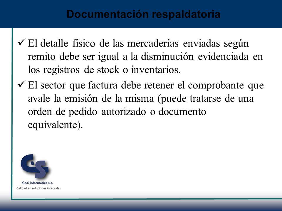 El detalle físico de las mercaderías enviadas según remito debe ser igual a la disminución evidenciada en los registros de stock o inventarios. El sec