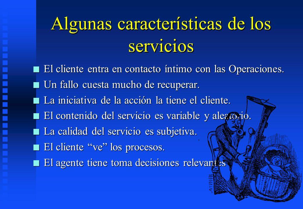 Algunas características de los servicios n El cliente entra en contacto íntimo con las Operaciones. n Un fallo cuesta mucho de recuperar. n La iniciat