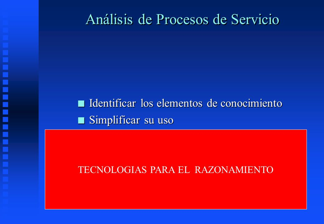 Análisis de Procesos de Servicio n Identificar los elementos de conocimiento n Simplificar su uso n Apoyarlos en tecnología n Pero son TECNOLOGIAS PAR