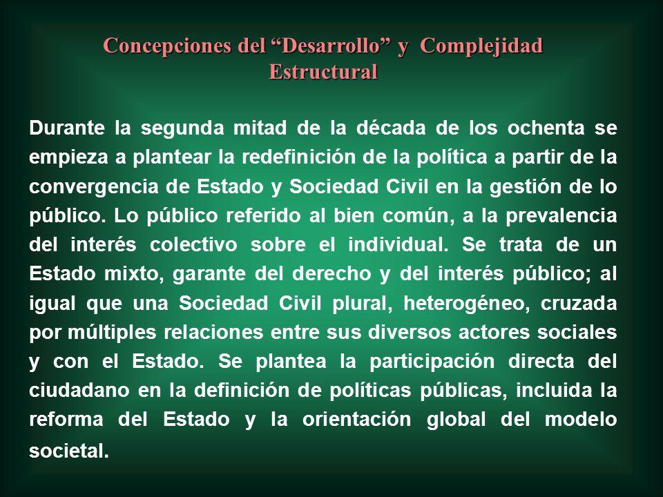 Concepciones del Desarrollo y Complejidad Estructural Durante la segunda mitad de la década de los ochenta se empieza a plantear la redefinición de la política a partir de la convergencia de Estado y Sociedad Civil en la gestión de lo público.