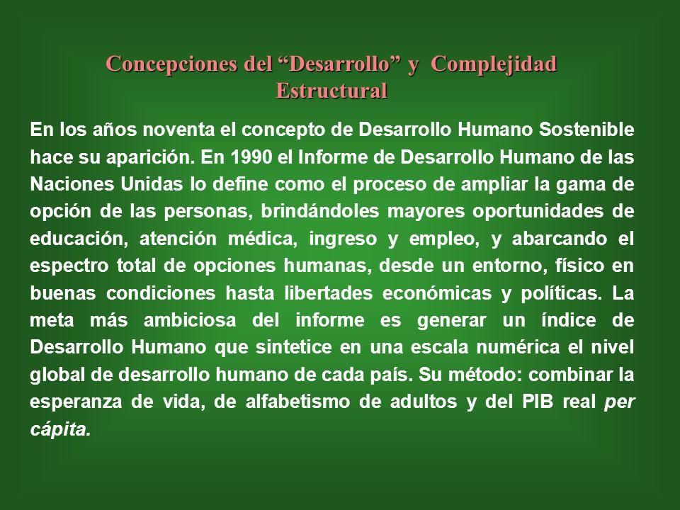 Concepciones del Desarrollo y Complejidad Estructural En los años noventa el concepto de Desarrollo Humano Sostenible hace su aparición.
