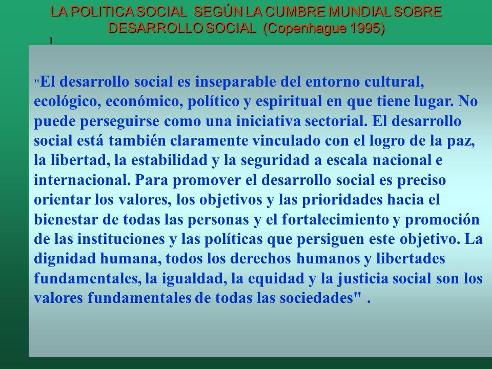 El desarrollo social es inseparable del entorno cultural, ecológico, económico, político y espiritual en que tiene lugar.