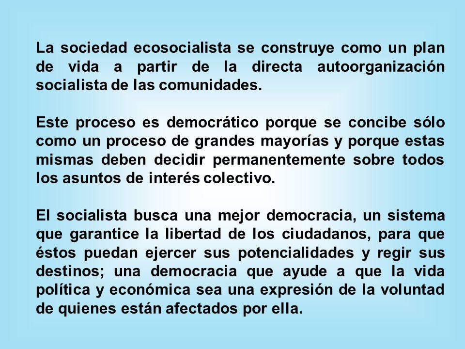 La sociedad ecosocialista se construye como un plan de vida a partir de la directa autoorganización socialista de las comunidades.