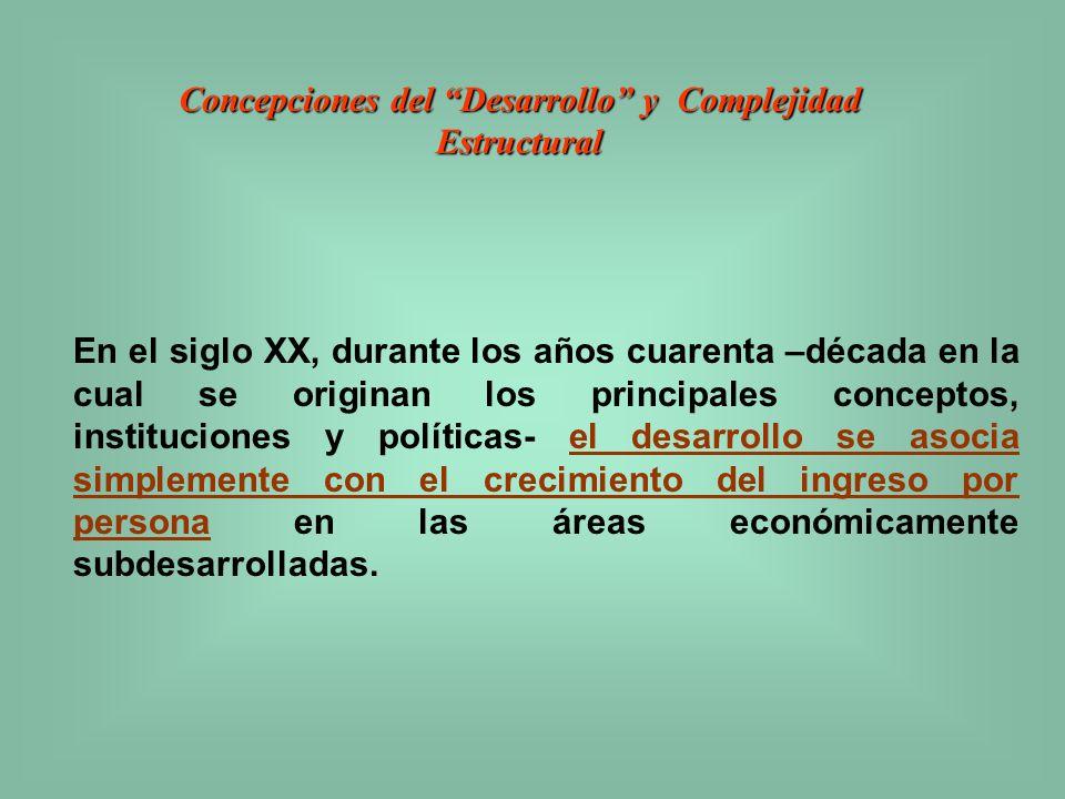 Concepciones del Desarrollo y Complejidad Estructural El modelo que se esconde tras la tesis del círculo vicioso del subdesarrollo, gira en torno de la noción de que el bajo nivel de ingreso impide la formación de capital necesaria para la elevación del ingreso.