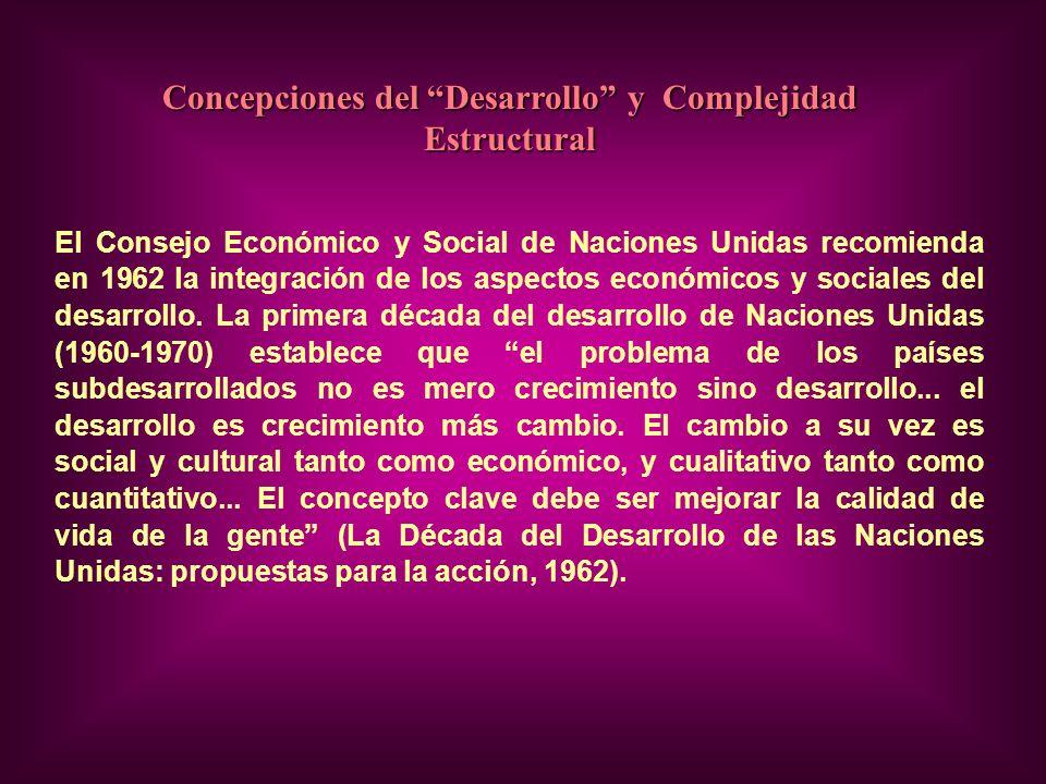 Concepciones del Desarrollo y Complejidad Estructural El Consejo Económico y Social de Naciones Unidas recomienda en 1962 la integración de los aspectos económicos y sociales del desarrollo.