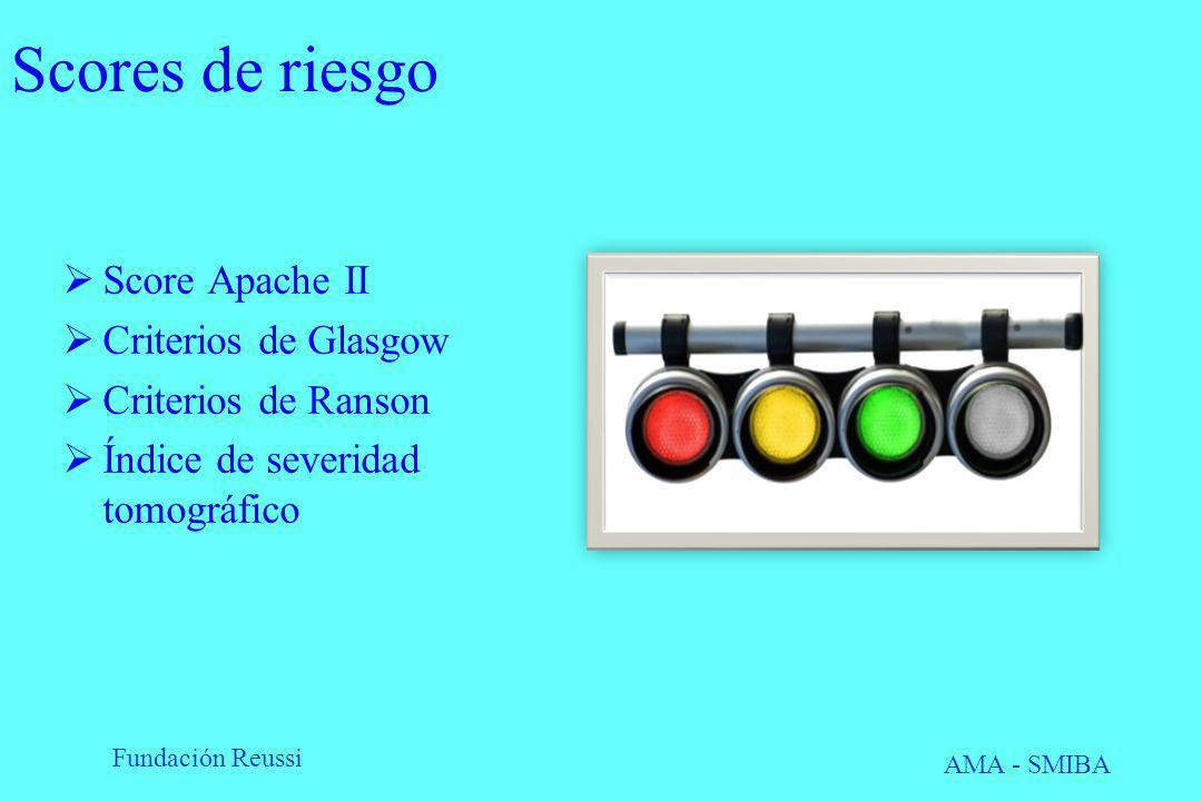 Fundación Reussi AMA - SMIBA Scores de riesgo Score Apache II Criterios de Glasgow Criterios de Ranson Índice de severidad tomográfico