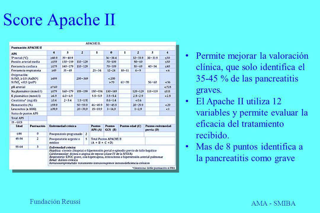 Fundación Reussi AMA - SMIBA Score Apache II Permite mejorar la valoración clínica, que solo identifica el 35-45 % de las pancreatitis graves. El Apac