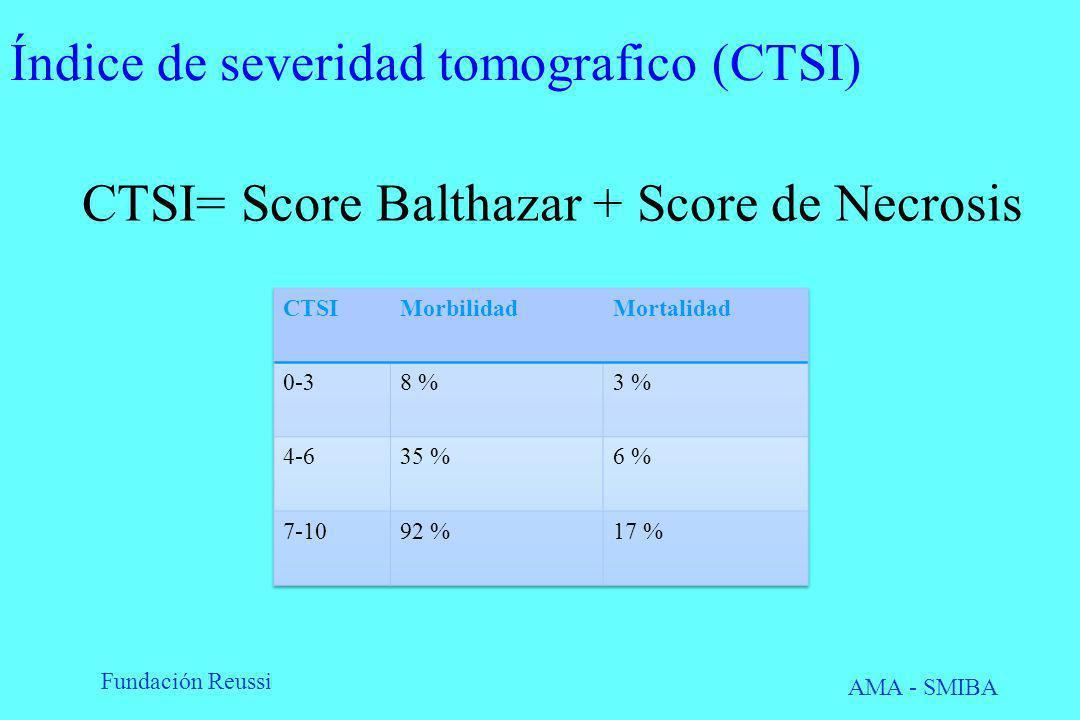 Fundación Reussi AMA - SMIBA Índice de severidad tomografico (CTSI) CTSI= Score Balthazar + Score de Necrosis