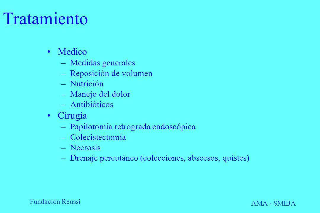 Fundación Reussi AMA - SMIBA Tratamiento Medico –Medidas generales –Reposición de volumen –Nutrición –Manejo del dolor –Antibióticos Cirugía –Papiloto