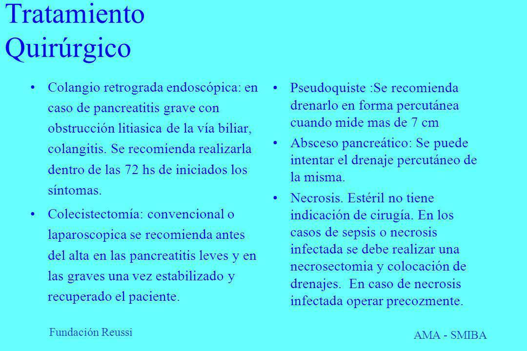 Fundación Reussi AMA - SMIBA Tratamiento Quirúrgico Colangio retrograda endoscópica: en caso de pancreatitis grave con obstrucción litiasica de la vía