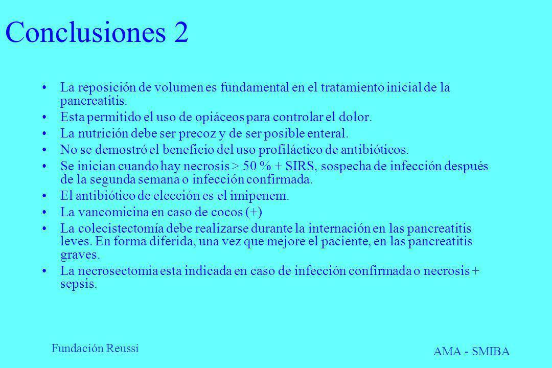Fundación Reussi AMA - SMIBA Conclusiones 2 La reposición de volumen es fundamental en el tratamiento inicial de la pancreatitis. Esta permitido el us