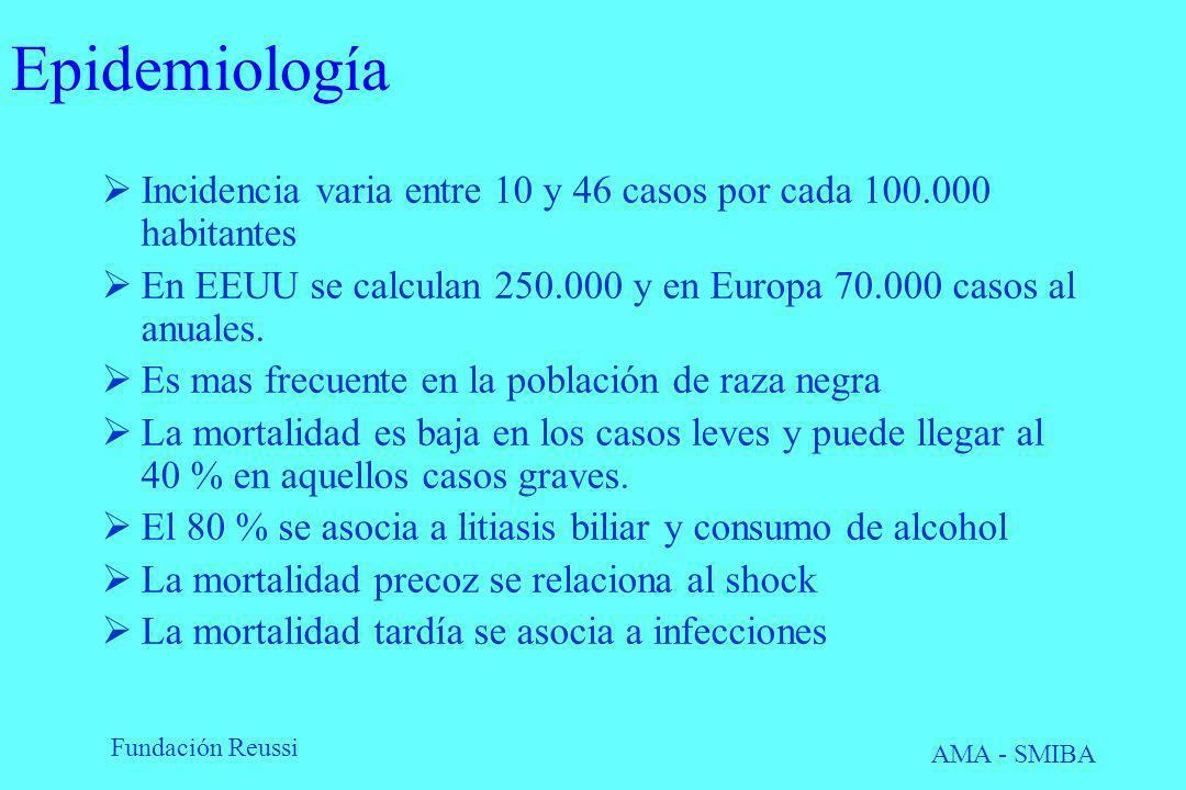 Fundación Reussi AMA - SMIBA Epidemiología Incidencia varia entre 10 y 46 casos por cada 100.000 habitantes En EEUU se calculan 250.000 y en Europa 70