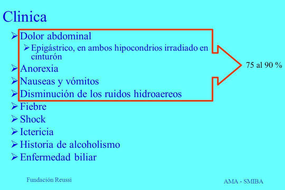 Fundación Reussi AMA - SMIBA Clinica Dolor abdominal Epigástrico, en ambos hipocondrios irradiado en cinturón Anorexia Nauseas y vómitos Disminución d