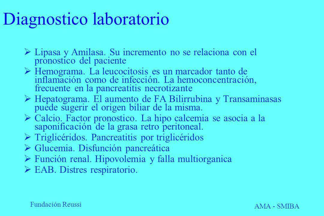 Fundación Reussi AMA - SMIBA Diagnostico laboratorio Lipasa y Amilasa. Su incremento no se relaciona con el pronostico del paciente Hemograma. La leuc