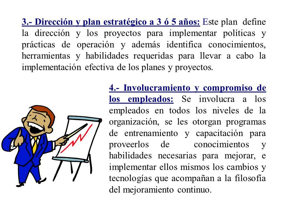 3.- Dirección y plan estratégico a 3 ó 5 años: Este plan define la dirección y los proyectos para implementar políticas y prácticas de operación y ade