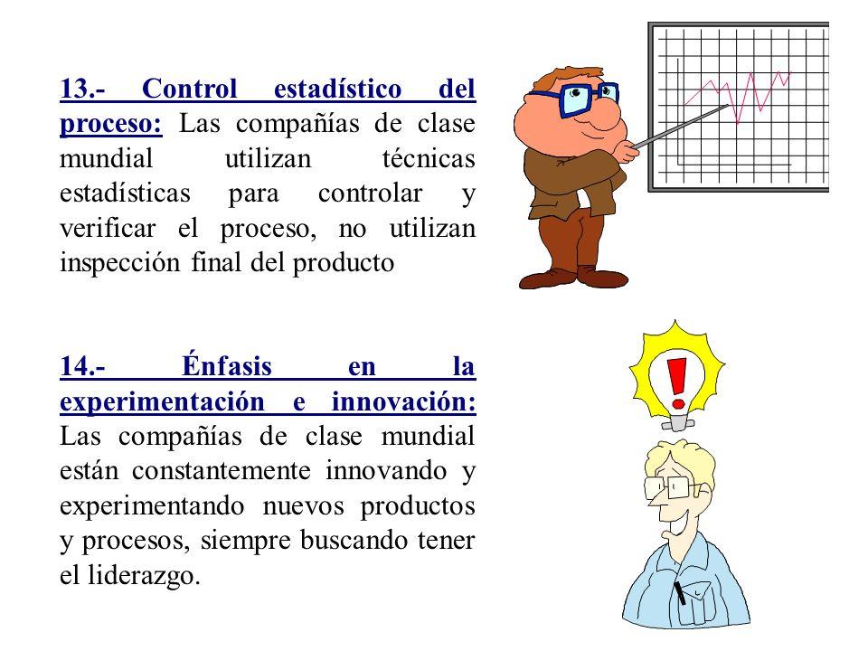 13.- Control estadístico del proceso: Las compañías de clase mundial utilizan técnicas estadísticas para controlar y verificar el proceso, no utilizan