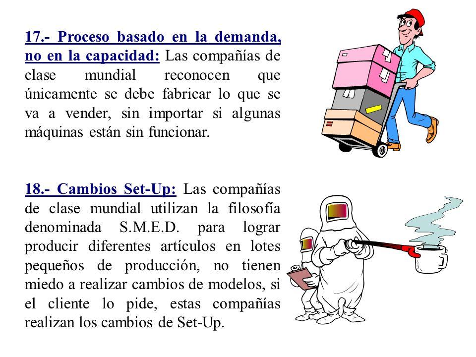 17.- Proceso basado en la demanda, no en la capacidad: Las compañías de clase mundial reconocen que únicamente se debe fabricar lo que se va a vender,