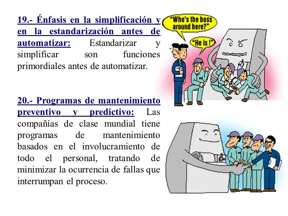 19.- Énfasis en la simplificación y en la estandarización antes de automatizar: Estandarizar y simplificar son funciones primordiales antes de automat