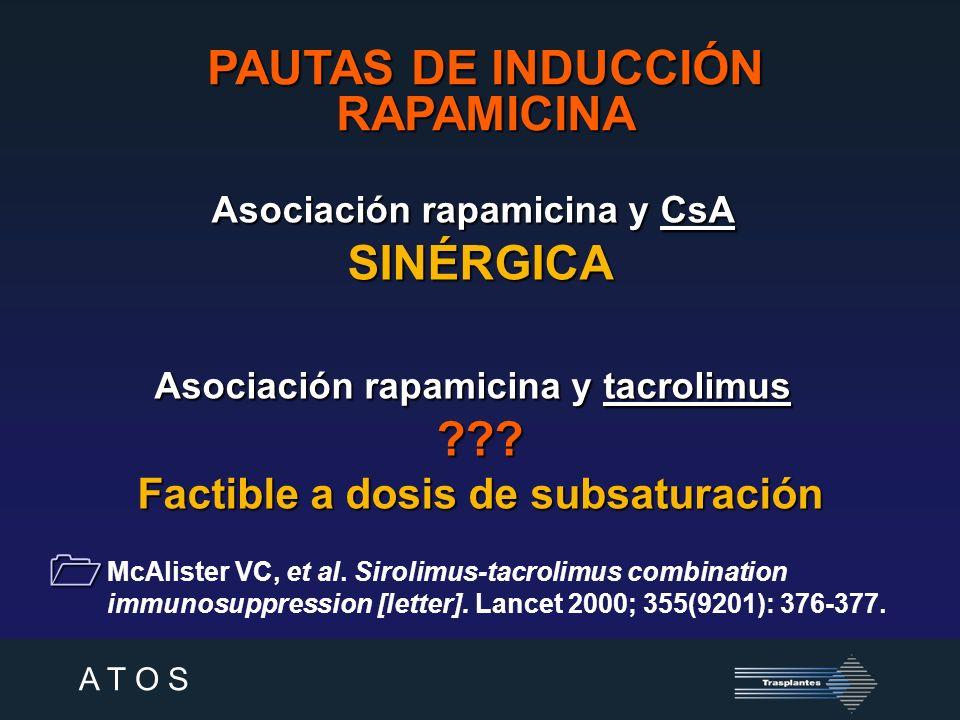 A T O S PAUTAS DE INDUCCIÓN RAPAMICINA Kahan et al.