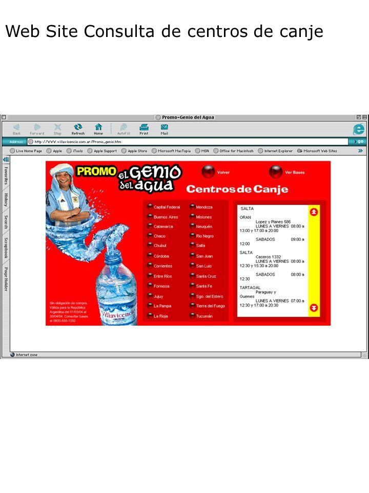 Web Site Consulta de centros de canje