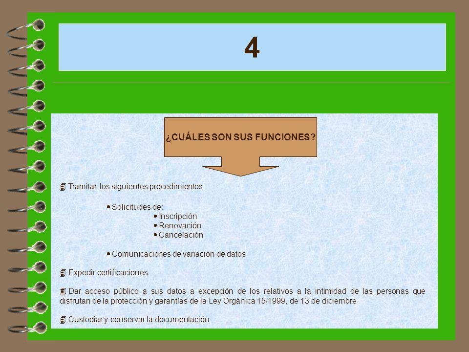 4 ¿CUÁLES SON SUS FUNCIONES? 4 Tramitar los siguientes procedimientos: Solicitudes de: Inscripción Renovación Cancelación Comunicaciones de variación