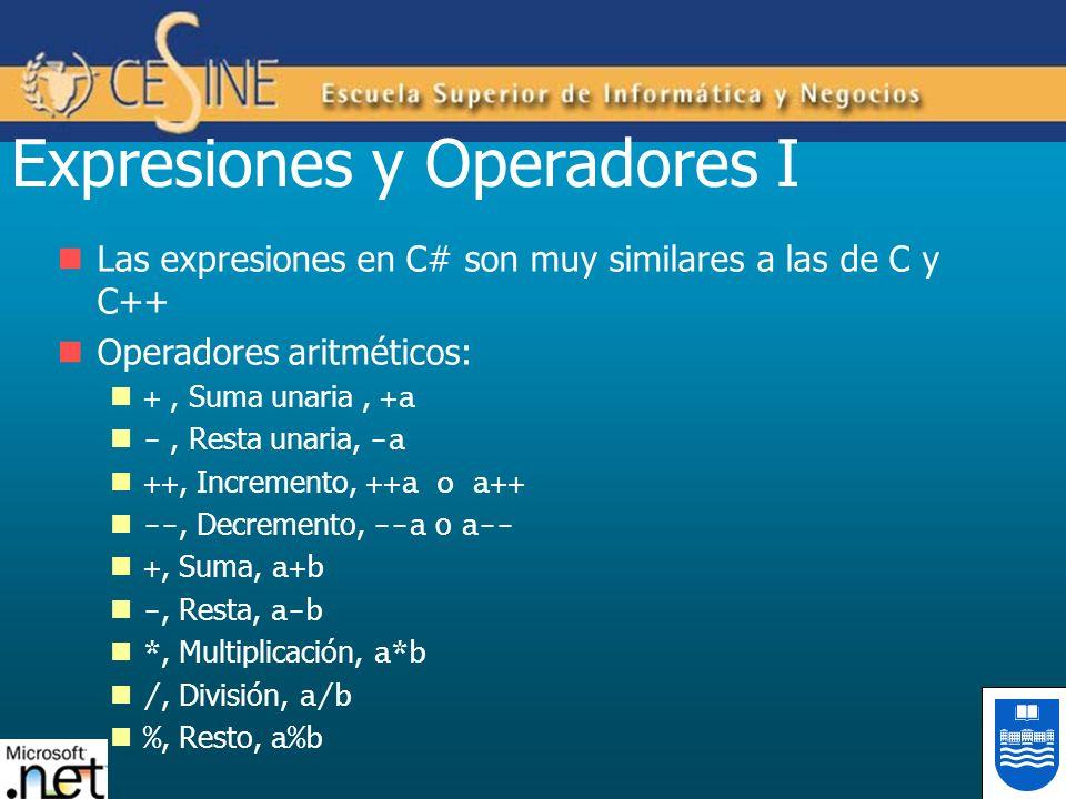 Expresiones y Operadores I Las expresiones en C# son muy similares a las de C y C++ Operadores aritméticos: +, Suma unaria, +a -, Resta unaria, -a ++,