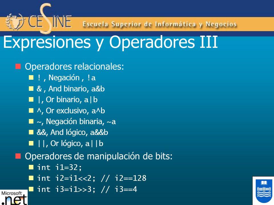 Expresiones y Operadores III Operadores relacionales: !, Negación, !a &, And binario, a&b |, Or binario, a|b ^, Or exclusivo, a^b ~, Negación binaria,