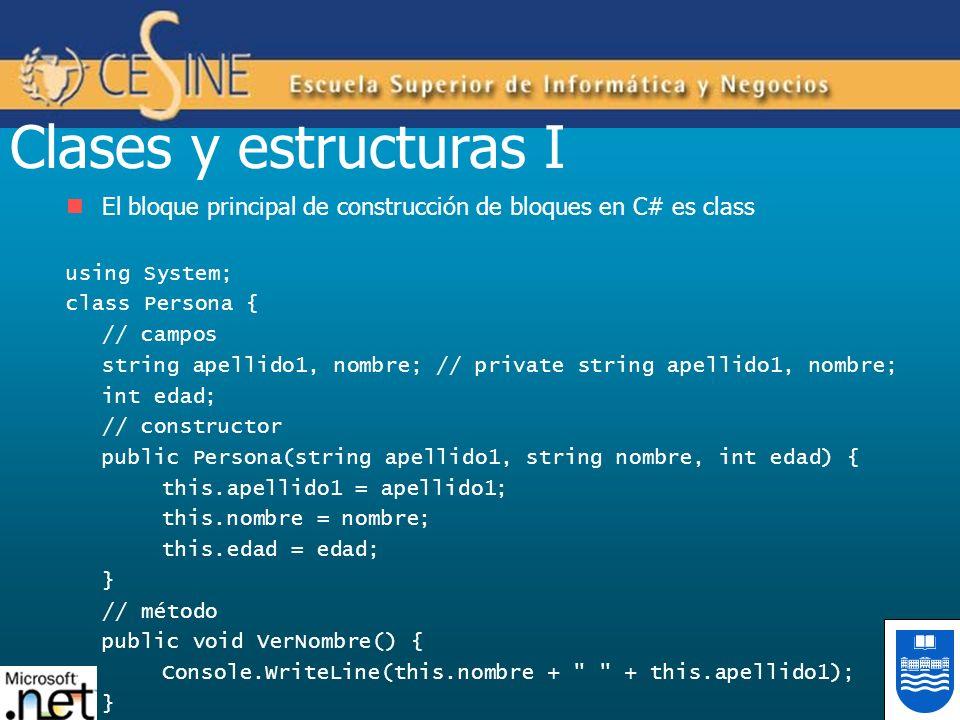 Clases y estructuras I El bloque principal de construcción de bloques en C# es class using System; class Persona { // campos string apellido1, nombre;