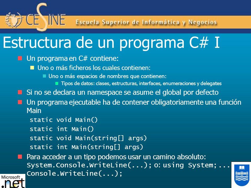 Estructura de un programa C# I Un programa en C# contiene: Uno o más ficheros los cuales contienen: Uno o más espacios de nombres que contienen: Tipos