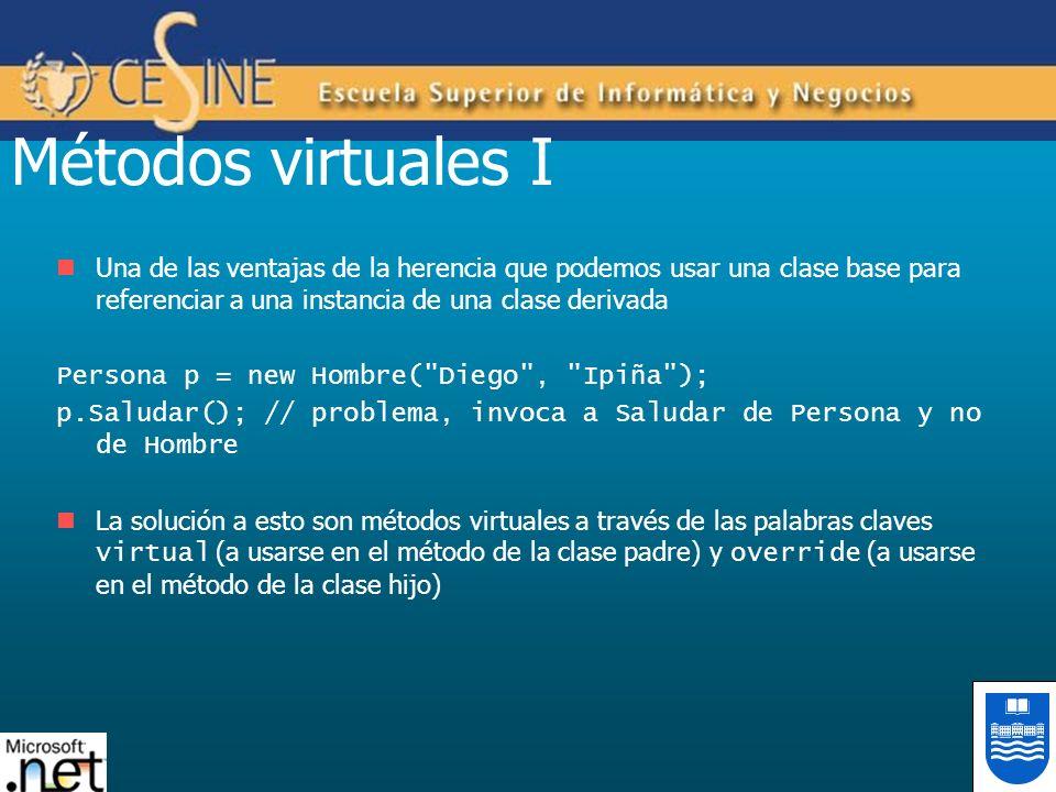 Métodos virtuales I Una de las ventajas de la herencia que podemos usar una clase base para referenciar a una instancia de una clase derivada Persona