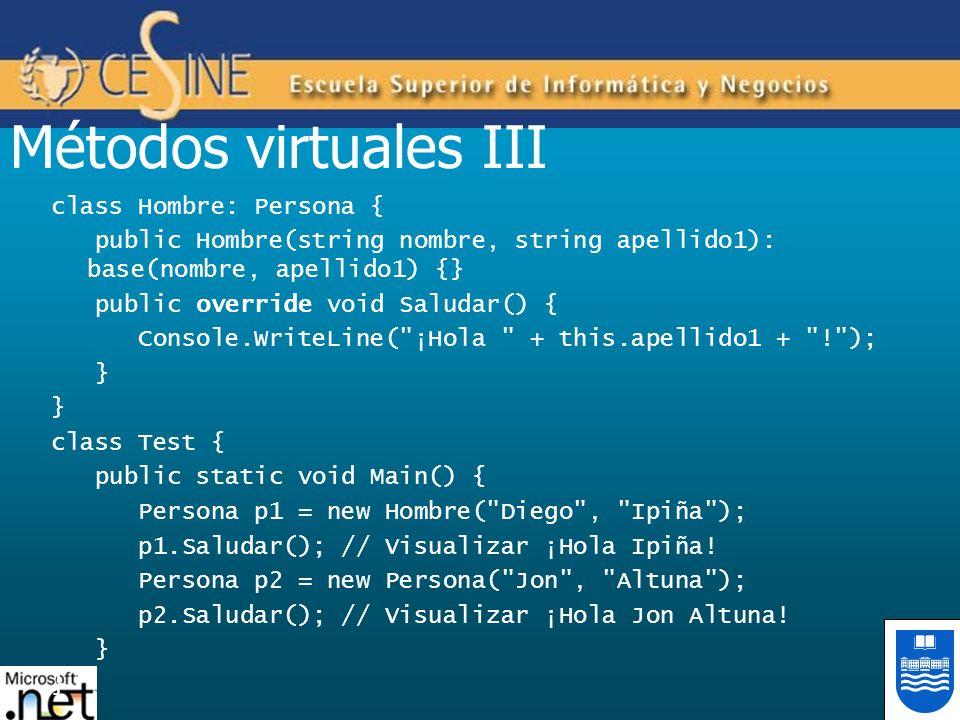 Métodos virtuales III class Hombre: Persona { public Hombre(string nombre, string apellido1): base(nombre, apellido1) {} public override void Saludar(
