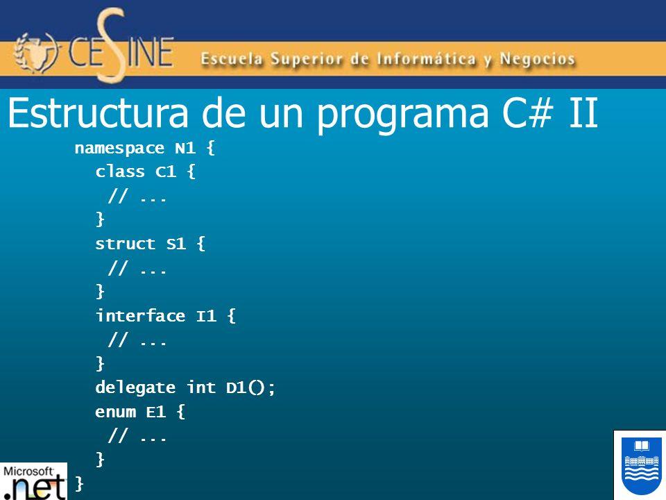 Estructura de un programa C# II namespace N1 { class C1 { //... } struct S1 { //... } interface I1 { //... } delegate int D1(); enum E1 { //... }