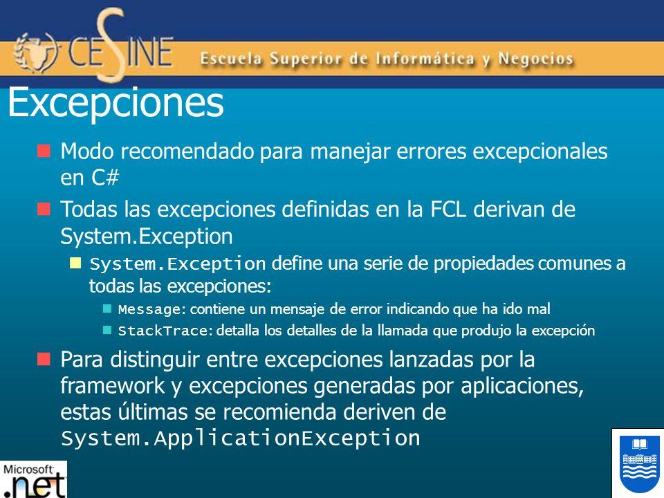 Excepciones Modo recomendado para manejar errores excepcionales en C# Todas las excepciones definidas en la FCL derivan de System.Exception System.Exc
