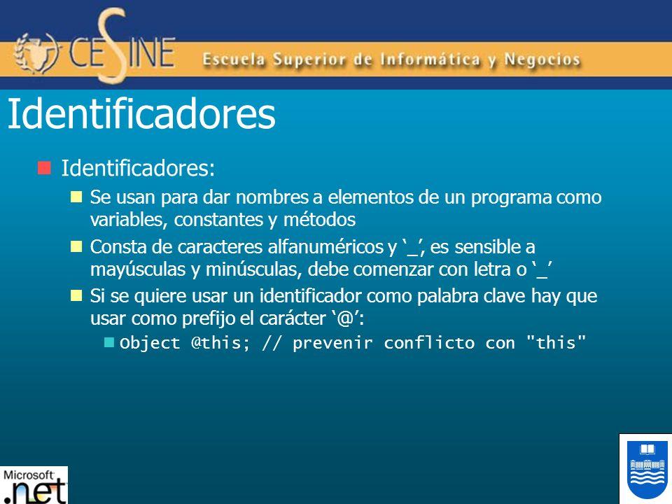 Identificadores Identificadores: Se usan para dar nombres a elementos de un programa como variables, constantes y métodos Consta de caracteres alfanum