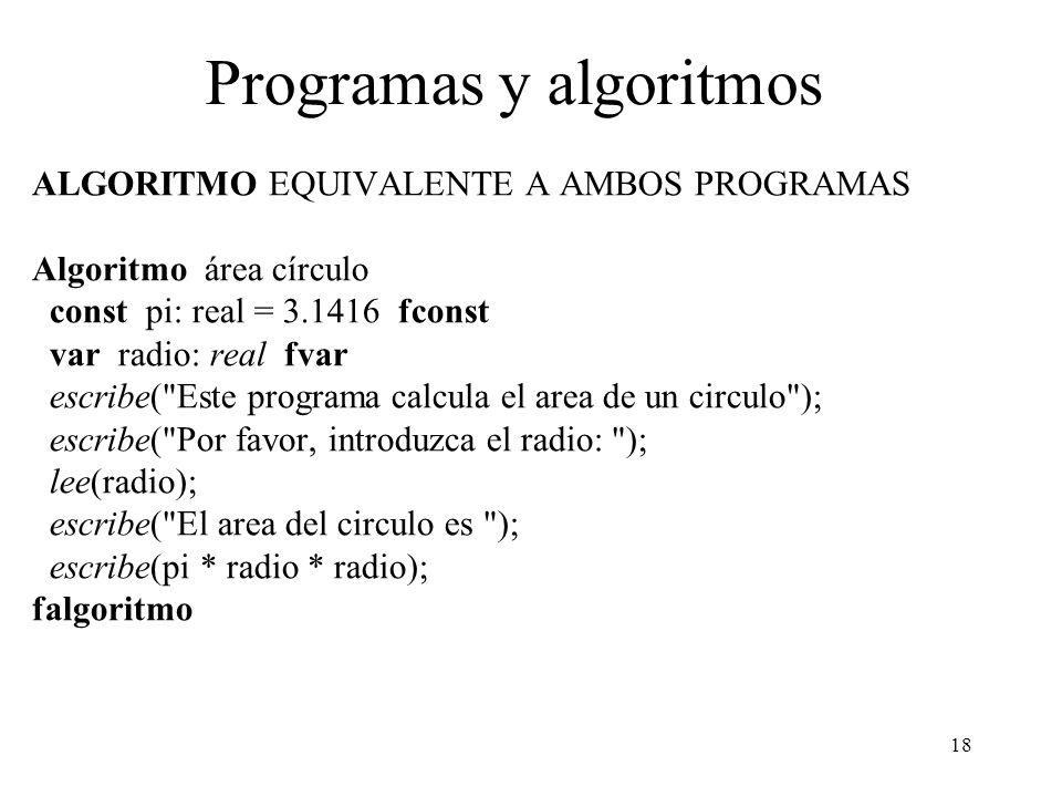 18 Programas y algoritmos ALGORITMO EQUIVALENTE A AMBOS PROGRAMAS Algoritmo área círculo const pi: real = 3.1416 fconst var radio: real fvar escribe(