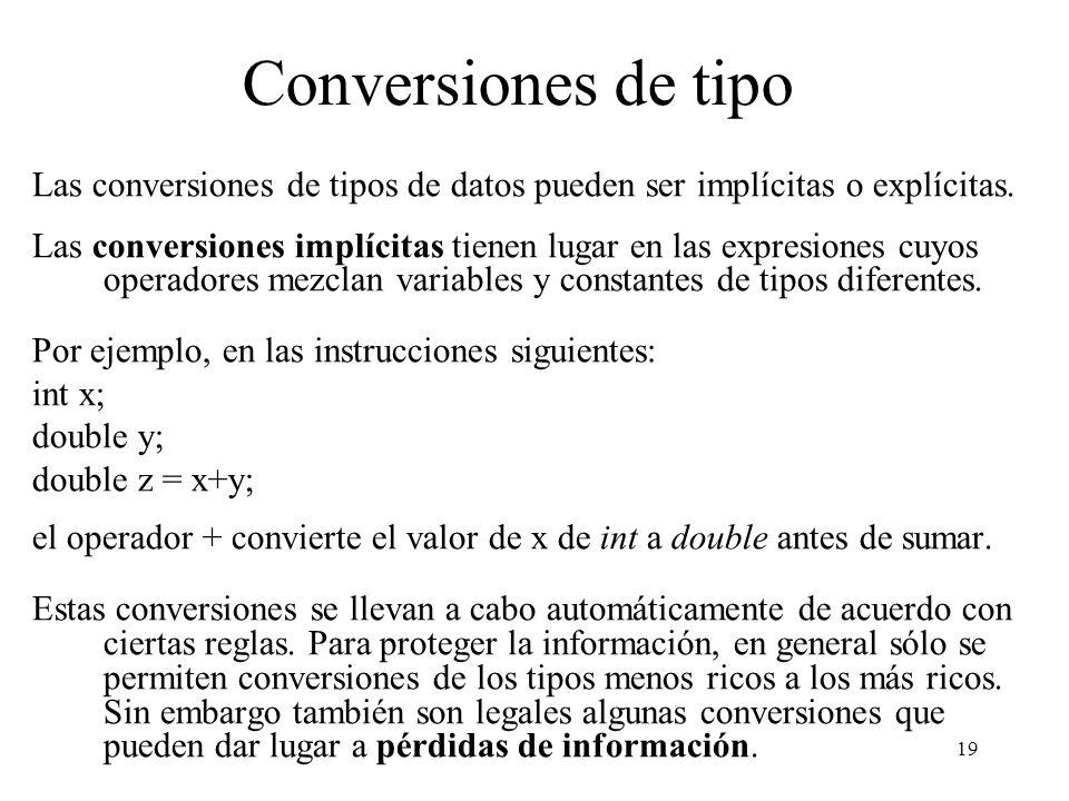 19 Conversiones de tipo Las conversiones de tipos de datos pueden ser implícitas o explícitas. Las conversiones implícitas tienen lugar en las expresi