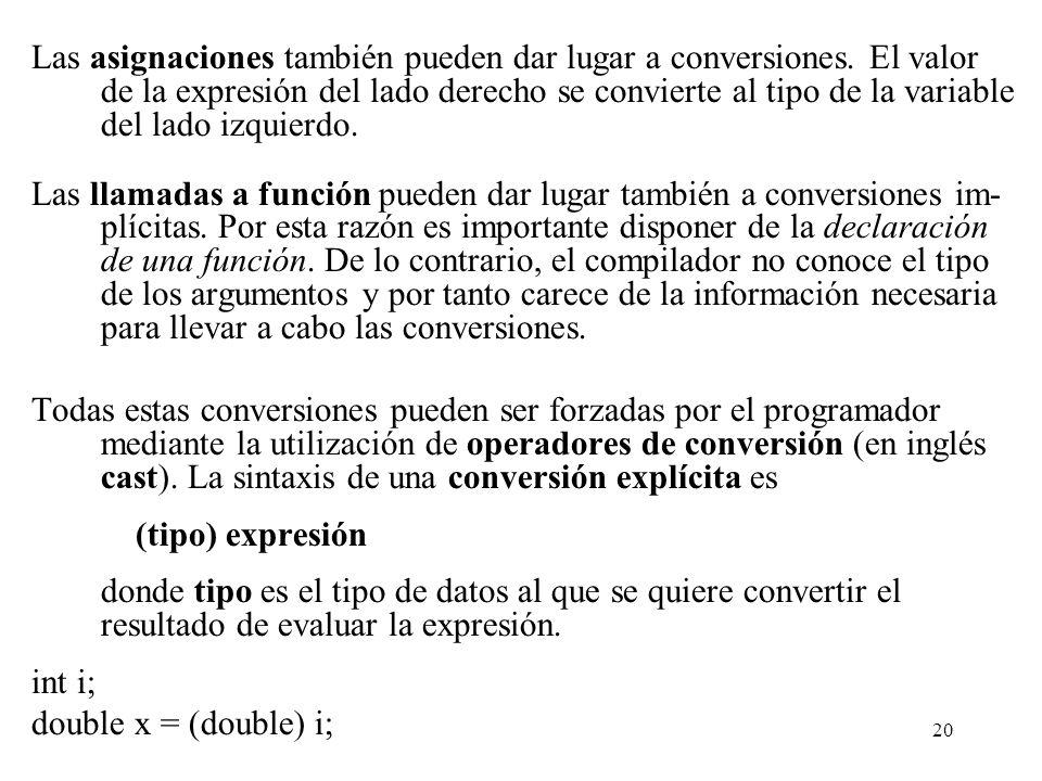 20 Las asignaciones también pueden dar lugar a conversiones. El valor de la expresión del lado derecho se convierte al tipo de la variable del lado iz
