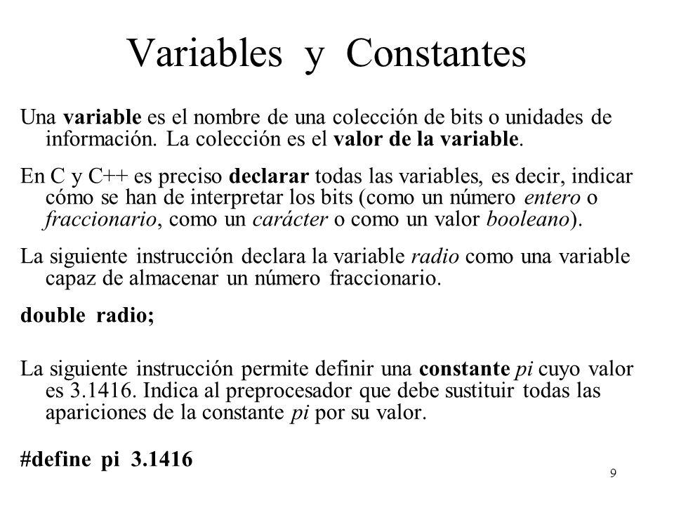 9 Variables y Constantes Una variable es el nombre de una colección de bits o unidades de información. La colección es el valor de la variable. En C y