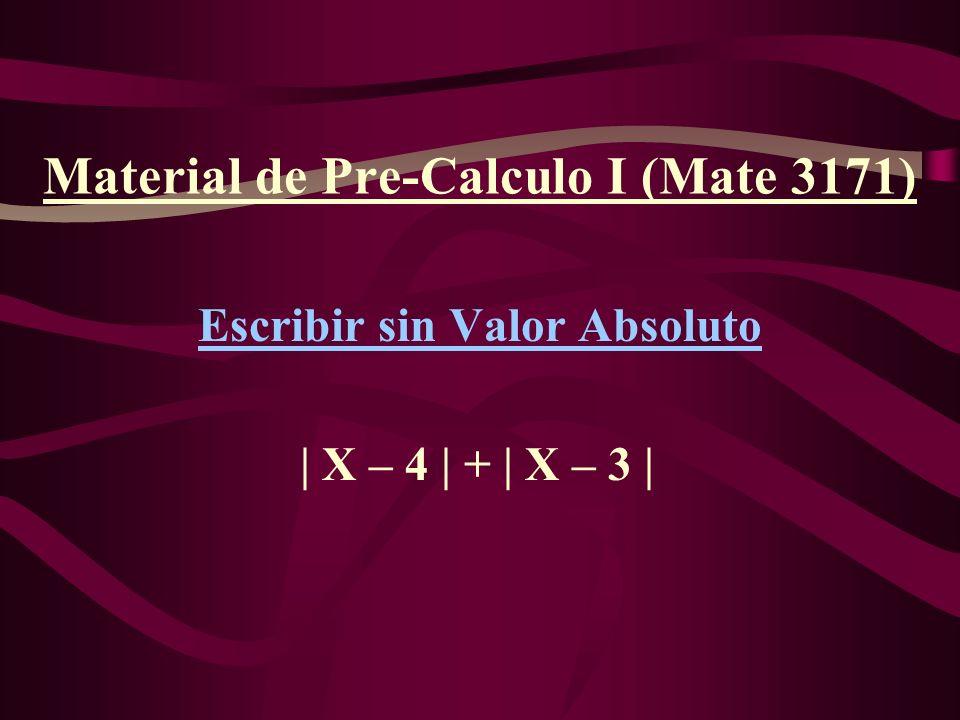 Material de Pre-Calculo I (Mate 3171) Escribir sin Valor Absoluto | X – 4 | + | X – 3 |