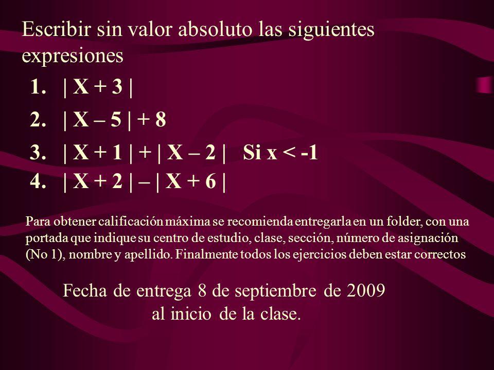 Escribir sin valor absoluto las siguientes expresiones Fecha de entrega 8 de septiembre de 2009 al inicio de la clase.