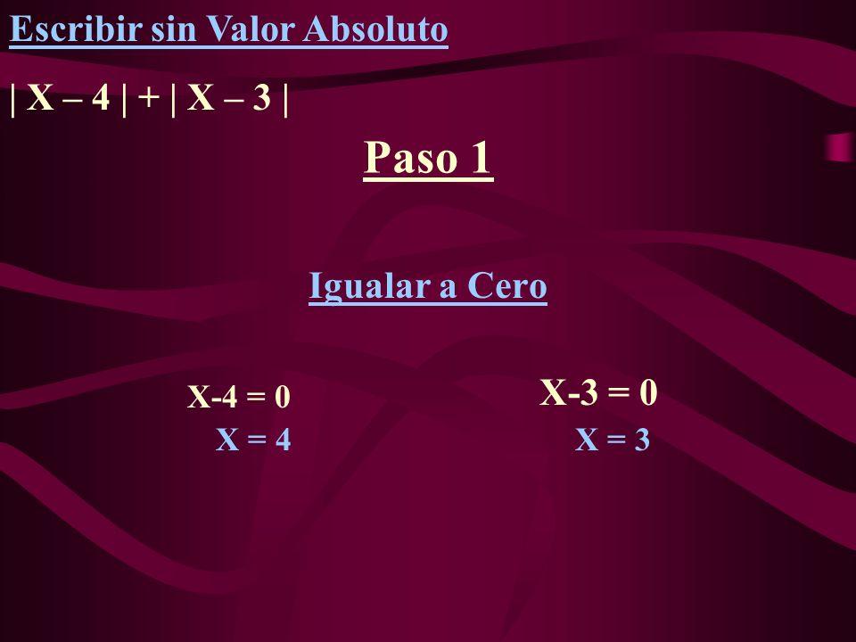 Paso 1 Igualar a Cero X = 3 X = 4 X-4 = 0 Escribir sin Valor Absoluto | X – 4 | + | X – 3 | X-3 = 0