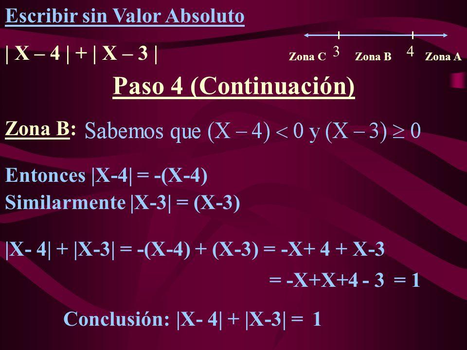Zona B: Entonces |X-4| = -(X-4) |X- 4| + |X-3| = -(X-4) + (X-3) = = -X+X+4 - 3 Escribir sin Valor Absoluto | X – 4 | + | X – 3 | Paso 4 (Continuación) Zona CZona BZona A 3 4 -X+ 4 + X-3 |X- 4| + |X-3| = = 1 1 Similarmente |X-3| = (X-3) Conclusión: