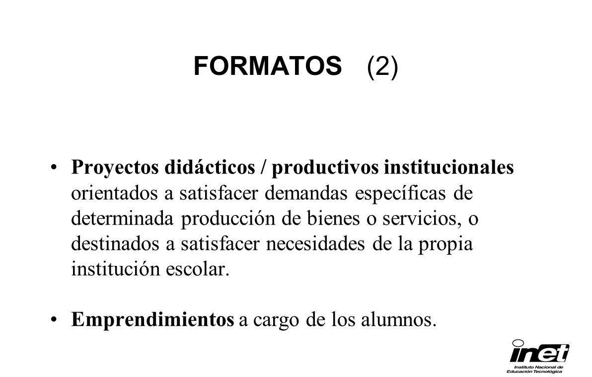 FORMATOS (2) Proyectos didácticos / productivos institucionales orientados a satisfacer demandas específicas de determinada producción de bienes o ser