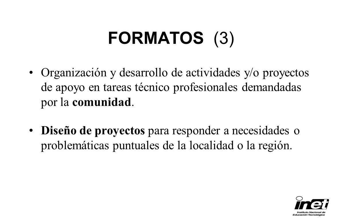 FORMATOS (3) Organización y desarrollo de actividades y/o proyectos de apoyo en tareas técnico profesionales demandadas por la comunidad. Diseño de pr