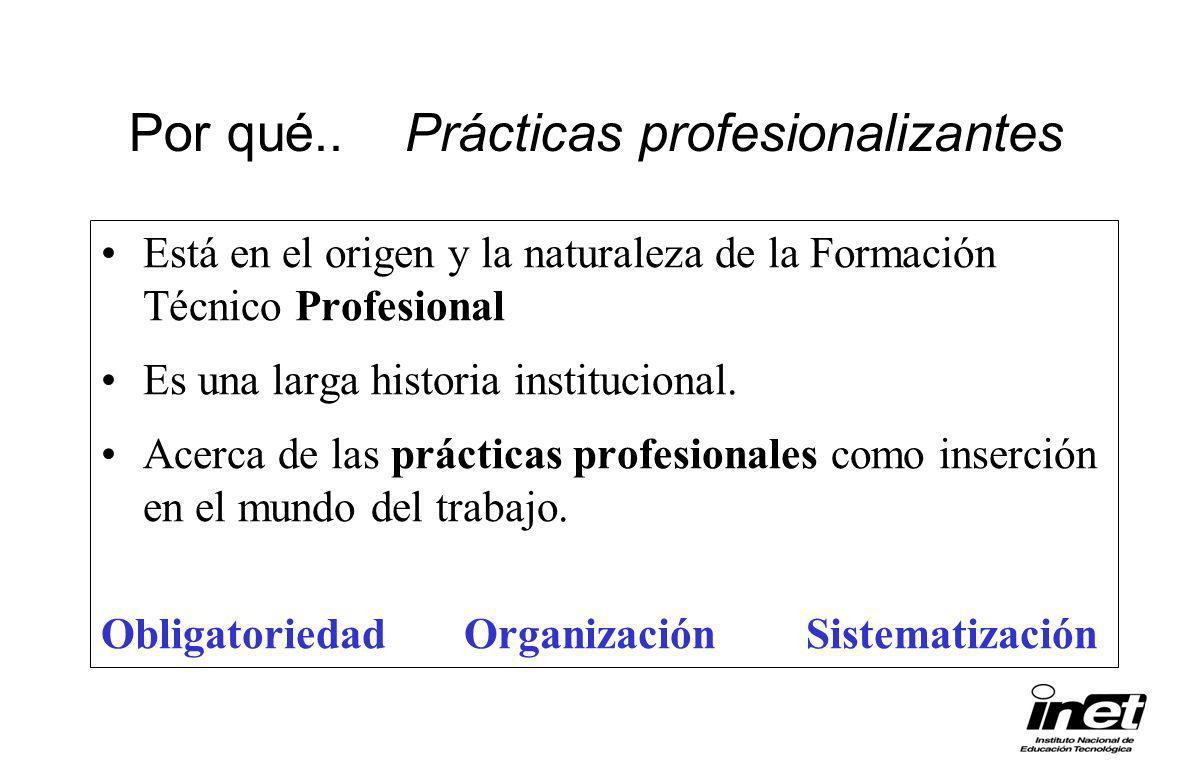 Por qué.. Prácticas profesionalizantes Está en el origen y la naturaleza de la Formación Técnico Profesional Es una larga historia institucional. Acer