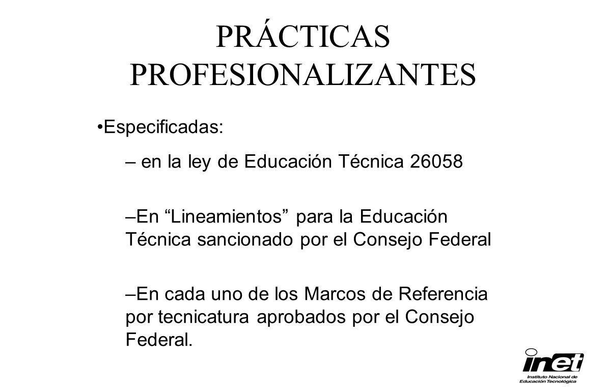 Especificadas: – en la ley de Educación Técnica 26058 –En Lineamientos para la Educación Técnica sancionado por el Consejo Federal –En cada uno de los