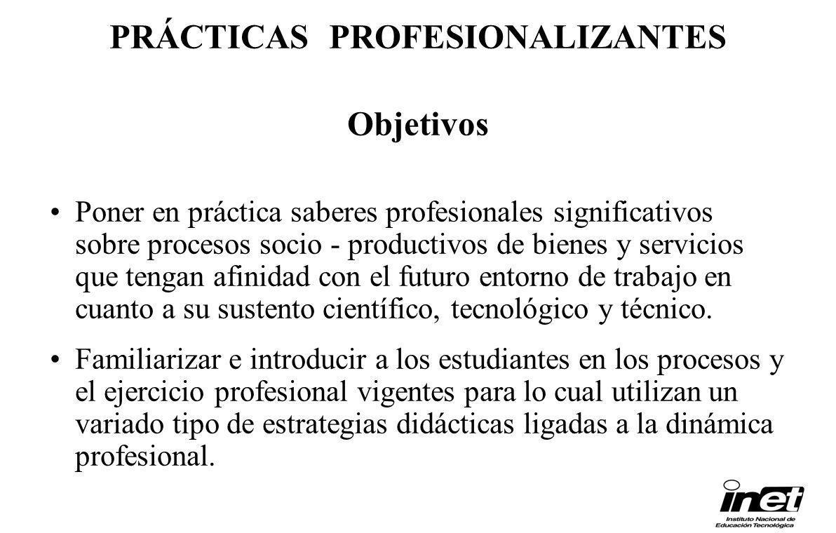 PRÁCTICAS PROFESIONALIZANTES Objetivos Poner en práctica saberes profesionales significativos sobre procesos socio - productivos de bienes y servicios
