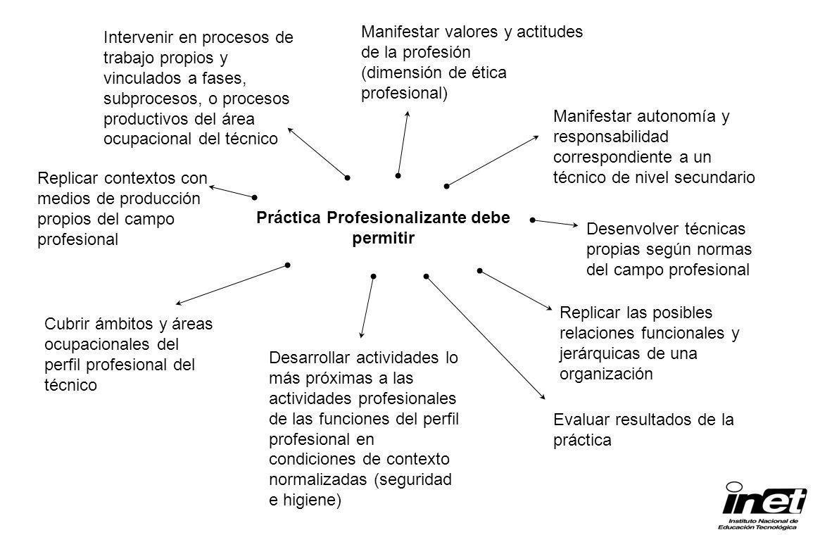 Práctica Profesionalizante debe permitir Manifestar valores y actitudes de la profesión (dimensión de ética profesional) Cubrir ámbitos y áreas ocupac