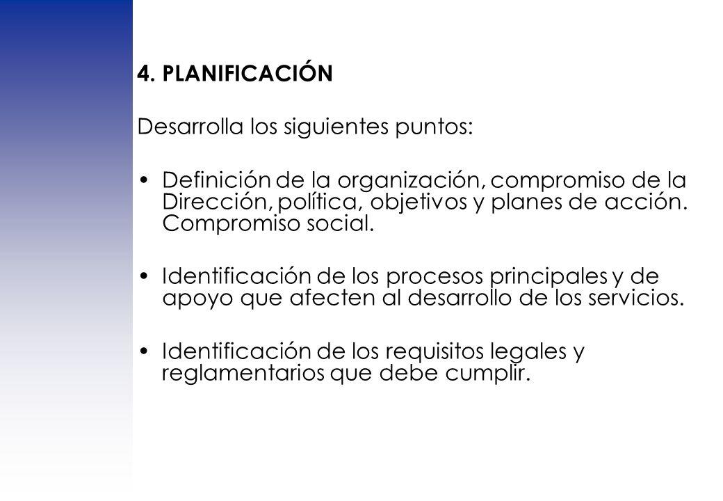 4. PLANIFICACIÓN Desarrolla los siguientes puntos: Definición de la organización, compromiso de la Dirección, política, objetivos y planes de acción.